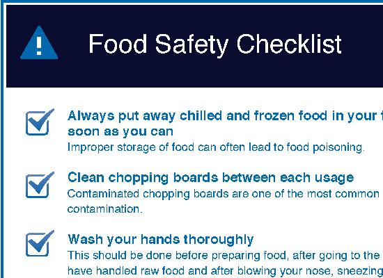 Food Safety Checklist For Kitchen