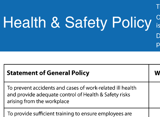 A category for all our free health safety and food safety resource new resource added health and safety policy pronofoot35fo Gallery